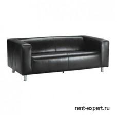 Черный диван из натуральной кожи
