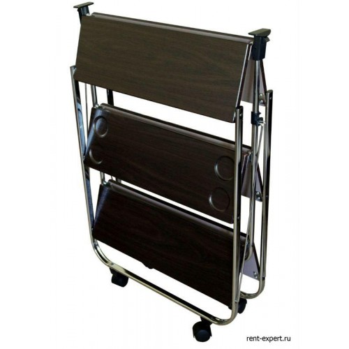 Столик сервировочный складной на колесиках Орех