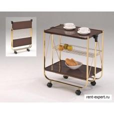 Складной сервировочный столик (коричневый/золото)