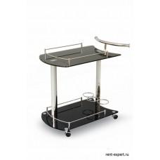 Столик сервировочный на колесиках стекло черное