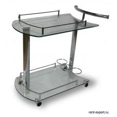 Столик сервировочный на колесиках стекло прозрачное