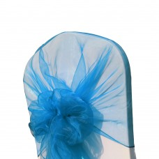 Декоративный бант с шапочкой,органза, цвет голубой, оранжевый, акрил, оливковый и т.д.