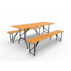 Стол банкетный прямоугольный в аренду, цвет орех, складной 150х75см.