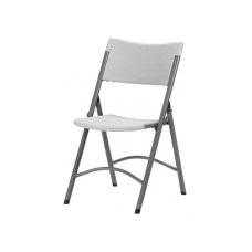 Складной пластиковый стул на металлокаркасе со спинкой