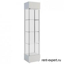 Четырехгранная стеклянная витрина с запирающимися дверцами белого цвета