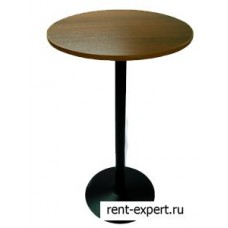 Стол коктейльный в аренду на одной ножке, разборный, круглый, орех, диаметр 60,70,80х110см.