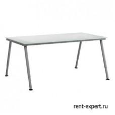 Переговорный стол с регулируемой от 60 до 90 см высотой. Столешница - белое стекло.