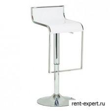 Высокий барный стул с мягким сиденьем из кожзаменителя белого цвета