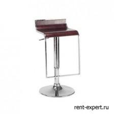 Высокий барный стул с мягким сиденьем из кожзаменителя темного цвета