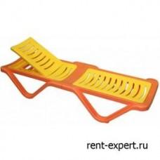 Шезлонг пластиковый Элегия оранжевый со вставкой